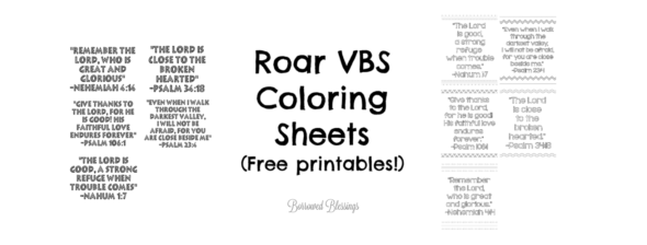 Roar VBS: Printable Bible Verse Coloring Sheets